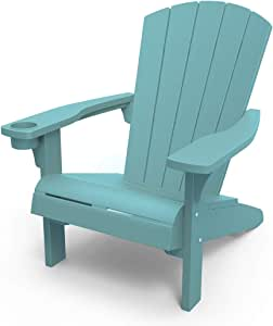 KETER Alpine Adirondack Resin Outdoor Furniture Patio Chairs with Cup Holder-Perfect for Beach, Pool, and Fire Pit Seating, Teal