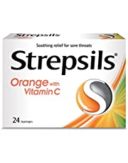 Strepsils Lozenges for Sore Throats Blister Pack with Vitamin C, Orange, 24ct