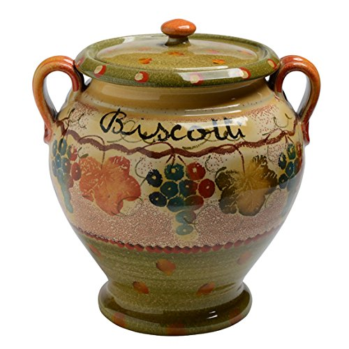 Italian Dinnerware - Biscotti Jar with Handles - Handmade in Italy from our Terre Di Chianti Collection