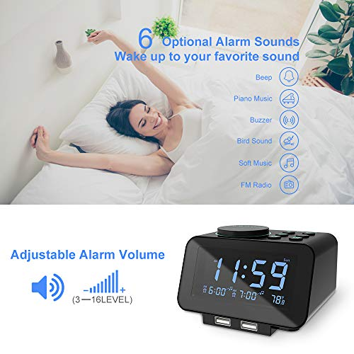 USCCE Digital Alarm Clock Radio - 0-100% Dimmer, Dual Alarm with Weekday/Weekend Mode, 6 Sounds Adjustable Volume, FM Radio w/Sleep Timer, Snooze, 2 USB Charging Ports, Thermometer, Battery Backup