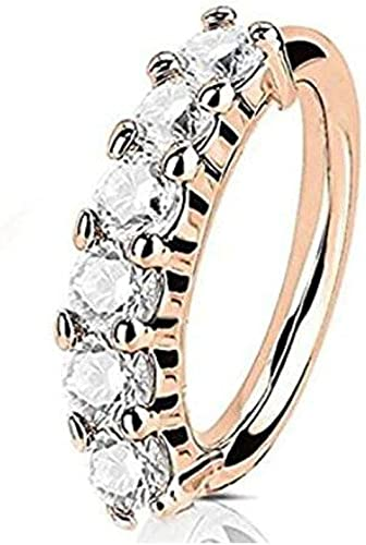 Amazon Com Out Facing 6 Cz Gem Split Hoop Nose Rings Jewelry