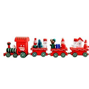 cyber monday wood train toy xmas gift 4 pcs christmas decoration decor gift set wooden - Cyber Monday Christmas Decorations