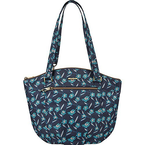 Travelon anti-Theft Dome Top Bucket Handbag with RFID protection (Fractal Floral (Navy & Teal))