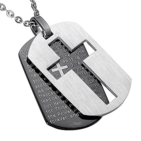 PAURO Men's Stainless Steel Bible Verse Lord's Prayer Cross Pendant Necklace Silver Black Double Dog Tags Chain 24 - Stainless Dog Tag Fashion Necklace