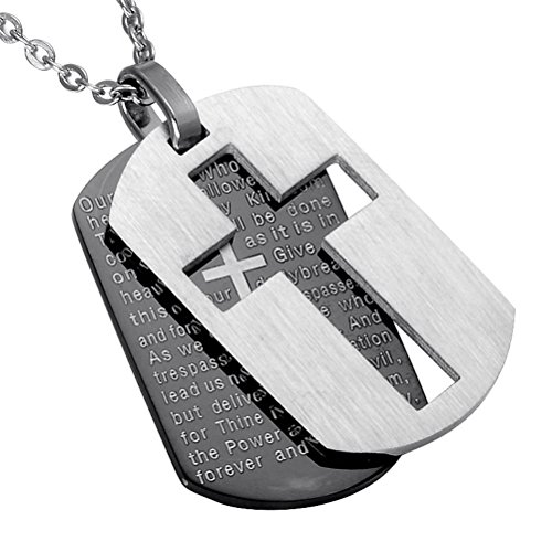 - UNAPHYO Men's Stainless Steel Bible Verse Lord's Prayer and Cross Double Pendant Necklace Dog Tag Style Black Silver 24 Inches Chain