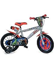 Dino Bikes Boy Bike 14 Inch Avengers Remmen op Stuur Verwijderbare Trainingwielen Grijs