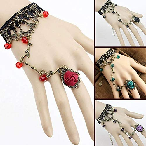 Cuff Harness (ZHNA Vintage Women Black Lace Flower Hand Slave Harness Cuff Bracelet Chain Ring Lolita (Purple,One Size))