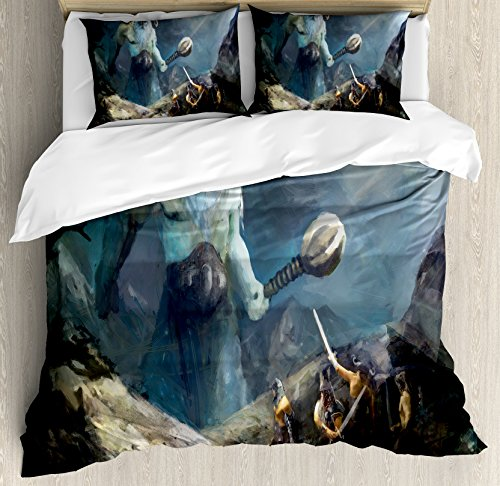 Lunarable Viking Duvet Cover Set, Heroes of Valhalla with Mythological Frost Giant Norse Culture Watercolor Design, Decorative 3 Piece Bedding Set with 2 Pillow Shams, King Size, ()