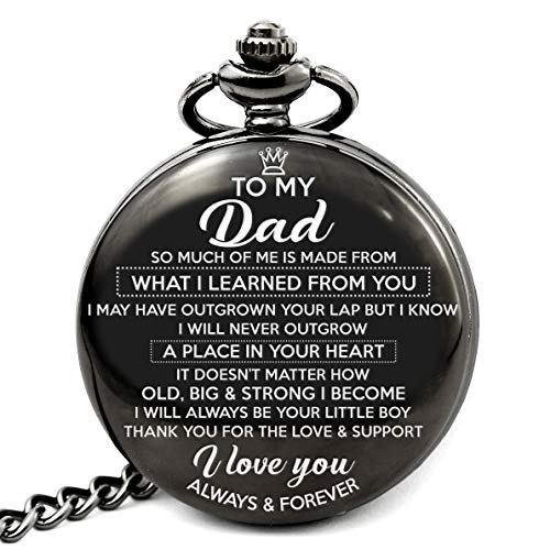 Memory gift - A special gift from son to Dad, engraved pocket watch with love message to Dad. Best gift from son to Dad on special occasion for Father day, Birthday, Christmas, Wedding. (Gifts For Dad To Be On Fathers Day)