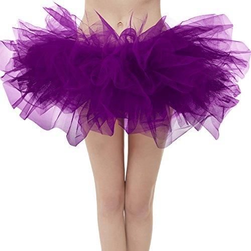 Dresstore Women's Vintage 5 Layered Tulle Tutu Puffy Ballet Bubble Skirt Grape Regular Size ()
