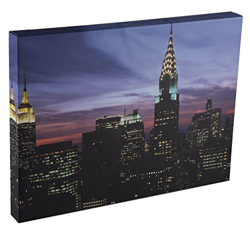 New York Skyline at Dusk Wall-Hanging Wood Framed Print Artwork with LED (Dusk Art Print)