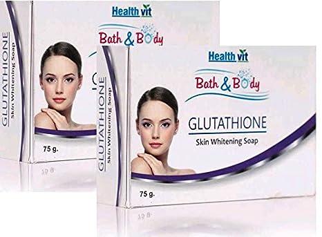 Healthvit Bath And Body Glutathione Skin Whitening Soap, 75g (Pack Of 2)