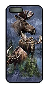 Moose Collage Custom PC Hard For Iphone 5C Phone Case Cover Black