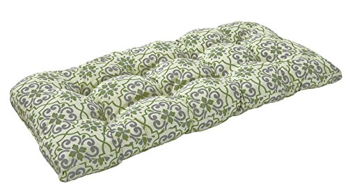 Bossima Indoor/Outdoor Green/Grey Damask Bench & Loveseat Cushion,Spring/Summer Seasonal Replacement Cushions.