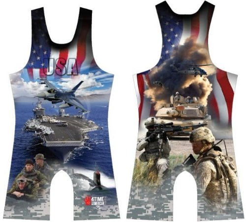 4-Time Army - Navy USA Sublimated Wrestling Singlet, Blue size XL ()