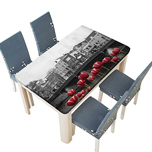 PINAFORE Polyester Tablecloth Table Cover Black and White Image of an Amsterdam Canal with red Tulips for Dining Room W25.5 x L65 INCH (Elastic Edge)