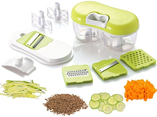 Brieftons QuickPull Food Chopper: Twin Chopper / Blender with Mandoline Slicer & Grater to Chop, Slice & Grate Fruits, Vegetables, Herbs, Onions, Garlics for Salsa, Salad, Pesto, Coleslaw, Puree