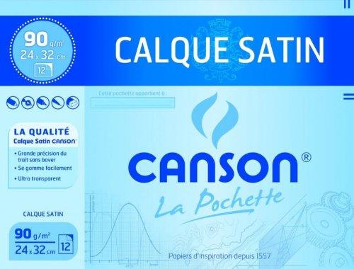 Canson Pochette de 12 feuilles papier calque satin 90g 24x32 Lot de 10 2772 Calque et millimètre