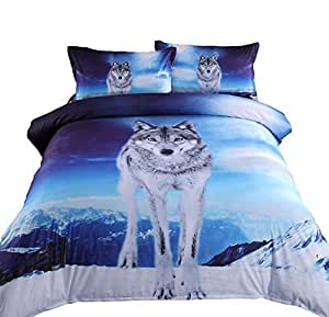 Amazon Com Alicemall 3d Wolf Bedding Super Cool Wolf