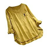 UOFOCO Blouses for Women Plus Size Vintage Cat Print Button V-Neck Long Sleeve Shirt Top Yellow