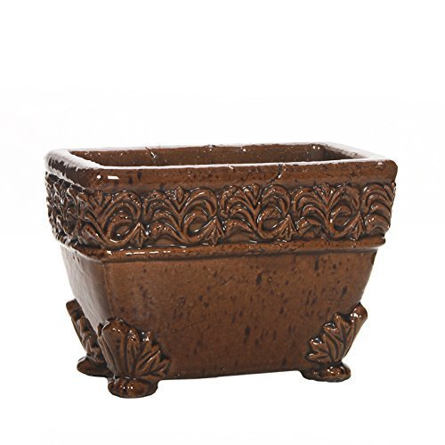 Hosley's Brown Medium Embossed Ceramic Planter with Lion Feet, 8.5