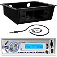 Pyle PLMR21BT Marine Boat USB/SD/MP3 Bluetooth Stereo Receiver Bundle Combo With Metra Universal Underdash Installation DIN Kit + Enrock 22 Wired AM/FM Radio Antenna