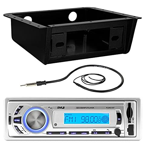 Pyle PLMR21BT Marine Boat USB/SD/MP3 Bluetooth Stereo Receiver Bundle Combo With Metra Universal Underdash Installation DIN Kit + Enrock 22