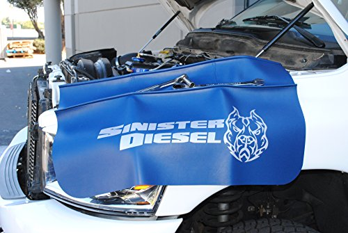 Sinister Diesel Fender Mat by 32 3/4″ L x 24 1/4″ W Blue Fender Protector to Keep Your Truck Safe and Protected, Features Include Slip Resistant Backing and Oil Resistant Top Surface