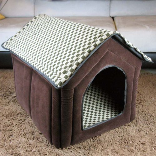 Pet House Large Soft brown Grid