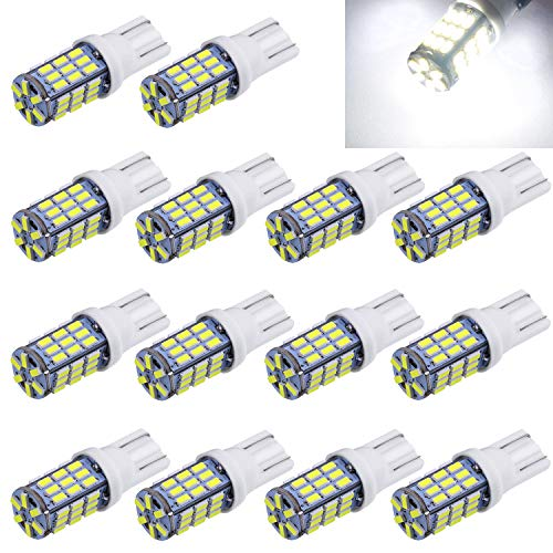 Aucan Super Bright RV Trailer 921 194 168 2825 W5W T10 Wedge 42-SMD 3014 Chipsets 12V Car Backup Reverse LED Light Bulbs Dome Map Light Width Lamp Xenon White (Pack of 18)