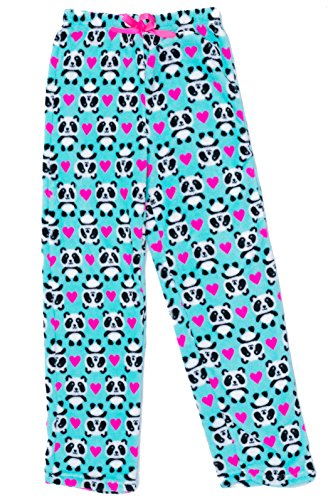 Just Love Cute Character Plush Pajama Pants for Girls - Fleece PJs, Panda Heart, Girls' (Kids Girls Pajamas Bottoms)