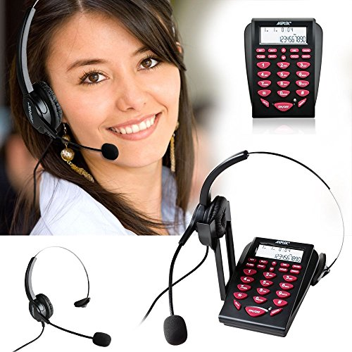 AGPtek Hands-free Call Center Noise Cancellation Corded Monaural Headset Telephone, with Backlight Tone Dial Key Pad & REDIAL + Desk Phone Headphones Headset PC Recording Function