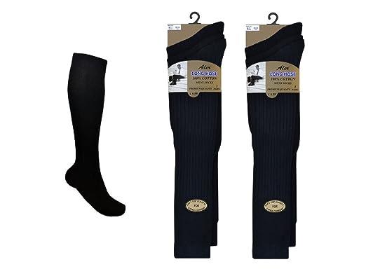 93d8bc9c36ed 6 Pairs Mens Extra Long 100% Cotton Socks - Mens Long Hose Socks (Black