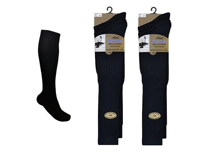 299f92295 6 Pairs Mens Extra Long 100% Cotton Socks - Mens Long Hose Socks (Black