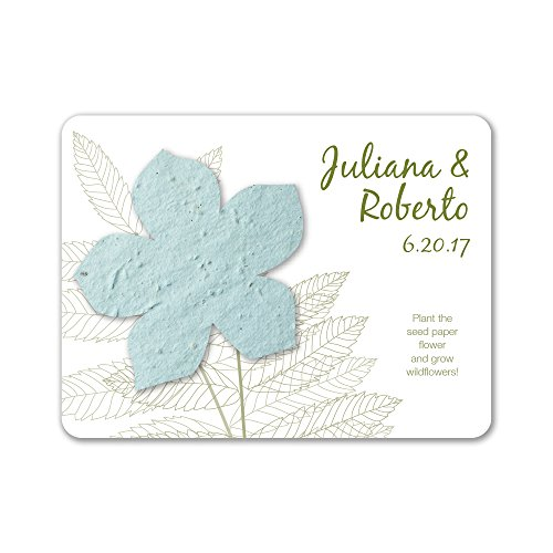 (Bloomin Plantable Wildflower Wedding Favor with Seed Paper - Powder Blue (25 Card Set))