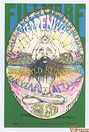BG 127 Creedence Clearwater Revival 1968 Jul 2 Bill Graham Postcard Ad Back