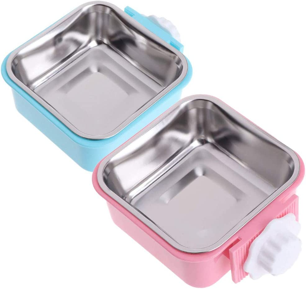 ZYYRT Crate Dog Bowl Set Removable Stainless Steel Hanging Cat Cage Bowl Food & Water Feeder Coop Cups for Puppy, Birds, Rats, Guinea Pigs (2 Pack, Blue and Pink)