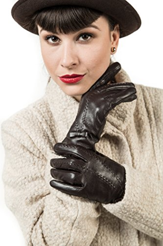 Marino Womens Warm Fashion Leather Gloves, Extreme Cold Weather Waterproof Gloves with Insulation Liner Long Sleeves With Bow Design - Brown - Medium (Gloves Fleece Purpose)