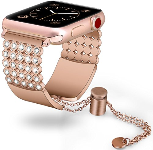 V-Moro for Apple Watch Bands 38mm Women Luxury Apple Watch Jewelry Cuff Metal Stainless Steel Bracelet Strap for Apple iWatch Series 3Series 2Series1Edition (Copper 38mm(5.5-8.26))
