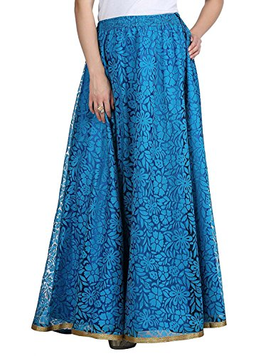 Long Double SKT1408 Skirt Women's Layer Blue Net Freesize f1twxqnRx