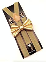 Metallic Gold Bow Tie & Matching Suspenders Set Tuxedo Wedding Prom Youth Men