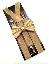 Metallic Gold Bow Tie & Matching Suspenders Set Tuxedo Wedding Prom Youth Men