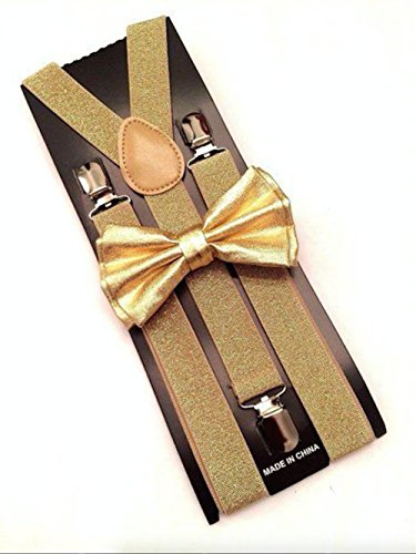Metallic Gold Bow Tie & Matching Suspenders Set Tuxedo Wedding Prom Youth Men (Glitter Suspenders)
