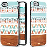 VeaYook for iPhone 6s Plus Dual Layer Case for iPhone 6 Plus iPhone 6s Plus Protection Case High Impact Slim Hard Case with Soft Tpu Interior Absorbing Case (Geometric Wood Design)