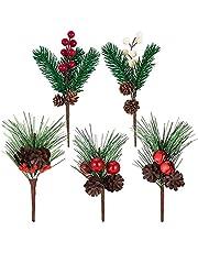 Kerst Berry Pine Kerst Krans Garland Decoratie Kerstbomen Decoratie Stengels Kerst Dennennaalden Ornamenten Kerstboomdecoraties Picks Kerst Bessen Decor Voor Diy Kerst Bloem Kransen Decor 5 Stuks