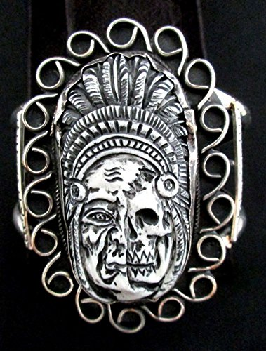 Navajo Silver and Bone Bracelet/Cuff HUGE Native American Signed NEZ Silver Cuff Bracelet Signed