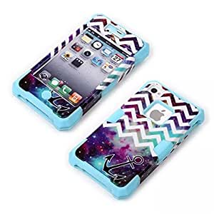 KINGCO Case for iPhone 4s,iPhone 4,3 Layers New Style Anchor with Chevron Waves Starry Sky Design Hybrid Armor Case Cover(Light Blue)