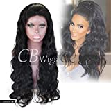 Cbwigs Glueless Body Wave Lace Front Wigs Human Hair Unprocessed Brazilian Remy Hair Wigs for African American Women 4.5'' Deep Parting 130% Density Natural Color (18 inch,Free Part)
