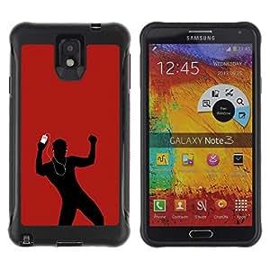 "Pulsar iFace Series Tpu silicona Carcasa Funda Case para SAMSUNG Galaxy Note 3 III / N9000 / N9005 , Dance Music Amor Hombre Rojo Auriculares"""