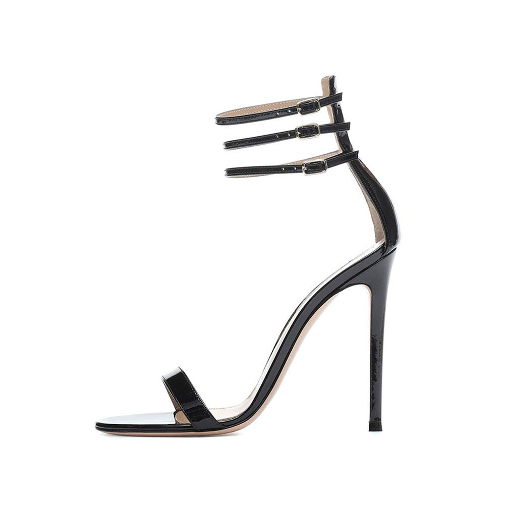 Black Women's Rome High Heel Sandals Non-Slip Wear Resistant Ankle Strap Buckle High Heel Sandals Daily shoes (Heel Height  13 cm)